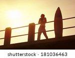 young surfer girl enjoying a... | Shutterstock . vector #181036463
