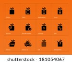 presents box icons on orange...