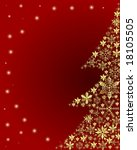 golden christmas tree on red... | Shutterstock . vector #18105505