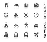 set of black flat icons with... | Shutterstock .eps vector #181113107