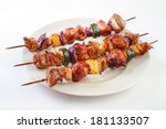 grilled skewers with meat and... | Shutterstock . vector #181133507