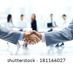 close up of businessmen shaking ... | Shutterstock . vector #181166027