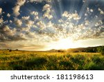 sunset with light rays filling... | Shutterstock . vector #181198613
