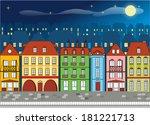 european houses night   Shutterstock .eps vector #181221713