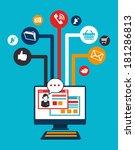 social media design over blue