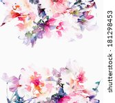 floral background. roses.... | Shutterstock . vector #181298453