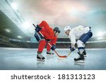 ice hockey player on the ice.... | Shutterstock . vector #181313123