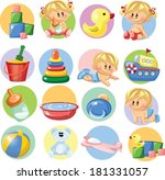 vector illustration of baby... | Shutterstock .eps vector #181331057