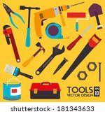 construction tools over yellow... | Shutterstock .eps vector #181343633