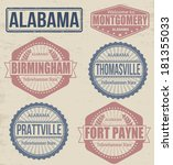 Set of Alabama cities stamps on vintage background, vector illustration