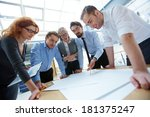 team of engineers discussing... | Shutterstock . vector #181375247