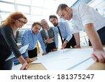 team of engineers discussing... | Shutterstock . vector #181375247