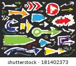grunge and hand drawn arrows set | Shutterstock .eps vector #181402373