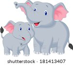 mother and baby elephant | Shutterstock . vector #181413407