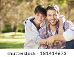 portrait of father and son in... | Shutterstock . vector #181414673