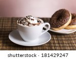cup of coffee with whipped... | Shutterstock . vector #181429247