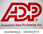 "Small photo of JANUARY 27, 2014 - BERLIN: the logo of the brand ""ADP - Automatic Data Processing""."