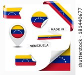 Made in Venezuela collection of ribbon, label, stickers, pointer, badge, icon and page curl with Venezuelan flag symbol on design element. Vector EPS 10 illustration isolated on white background.