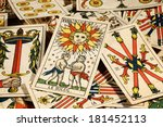 Set Of Old Tarot Cards Lying I...