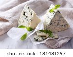 tasty blue cheese with basil on ...
