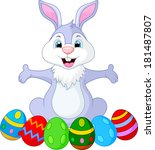 easter funny rabbit with eggs  | Shutterstock . vector #181487807