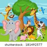 funny animal cartoon  | Shutterstock . vector #181492577