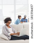 young woman using laptop with... | Shutterstock . vector #181556657