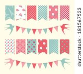 vintage bunting flags and... | Shutterstock .eps vector #181567523