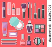 set of colored cosmetics... | Shutterstock .eps vector #181567703