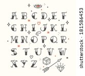 poster tattoo style font with... | Shutterstock .eps vector #181586453