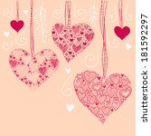 nice background with hearts | Shutterstock . vector #181592297