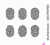fingerprint icons set. vector. | Shutterstock .eps vector #181596983