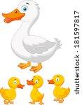 duck family cartoon | Shutterstock . vector #181597817