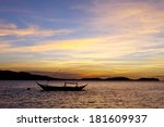 beautiful sunset with boat. | Shutterstock . vector #181609937