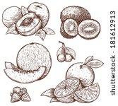 vector set of engraving... | Shutterstock .eps vector #181612913