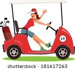 Woman Driving A Golf Cart...