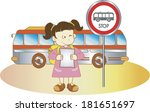 girl waiting for the bus | Shutterstock . vector #181651697