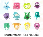 funny colored characters | Shutterstock .eps vector #181703003