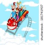 happy family enjoying fun ride... | Shutterstock .eps vector #181741937