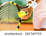 Player's Hand With Tennis Ball...