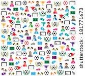 soccer background icons set.... | Shutterstock .eps vector #181771673