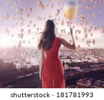 young woman with colorful... | Shutterstock . vector #181781993