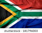 waving south africa flag | Shutterstock . vector #181796003