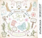 summer hand drawn elements for... | Shutterstock .eps vector #181811237