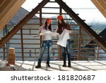 two young women workers... | Shutterstock . vector #181820687