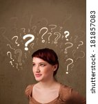 teenage girl with question mark ... | Shutterstock . vector #181857083
