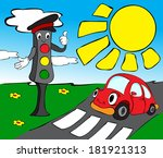 red car and traffic lights.... | Shutterstock .eps vector #181921313