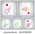 Vector collection of brochure cover design templates with abstract dynamic wave backgrounds - stock vector