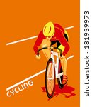 poster with a track cyclist at... | Shutterstock .eps vector #181939973