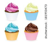 cupcake collection | Shutterstock .eps vector #181953473